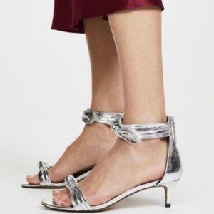 REBECCA MINKOFF Kaley Knotted Kitten Silver Heel